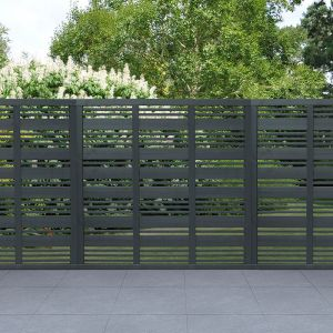 Forest 6' x 6' Contemporary Grey Mix Slatted Fence Panel (1.8m x 1.8m)