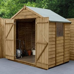 7' x 5' Forest Overlap Pressure Treated Shed Double Door Apex Wooden Shed
