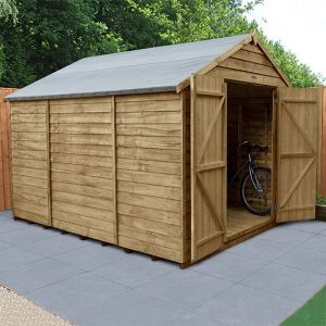 10' x 8' Forest Overlap Pressure Treated Windowless Double Door Apex Wooden Shed