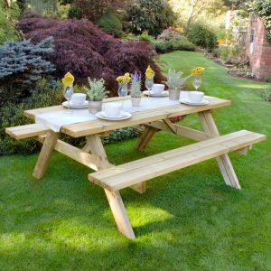 1.8m (6'x5') Furniture-Plus Large Rectangular Picnic Table