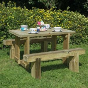 Refectory Table and Sleeper Bench Set - 1.2m