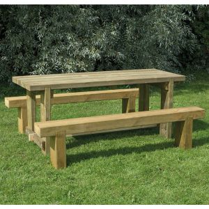 Refectory Table and Sleeper Bench Set - 1.8m