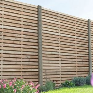 6ft x 6ft (1.8m x 1.8m) Pressure Treated Contemporary Double Slatted Fence Panel